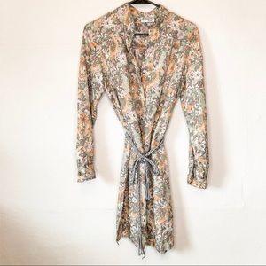 Vintage Sunflower Print Tie Waist Dress